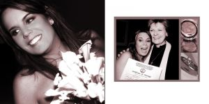 Wedding album layout, bride with minister